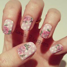 Lilac Polka Dot Pink Rose Nail Art