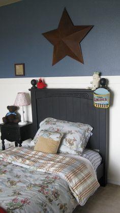 Boys Vintage Cowboy Room cute bedding and headboard color