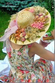 From previous pinner: Spring. Hat. Dress. Calm. I love everything about this. From me CLS:  This is a beautiful flower garden on her hat.  Gorgeous!!