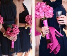 pretty shoes and flowers--Navy dresses for an evening wedding are so elegant and stunning with a pop of pink