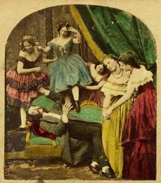 Stereocard showing a brothel scene