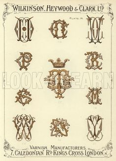 CU, CN, CV, CP, CT, CR, CS, CM, CW, CO, CY. Illustration for a catalogue of Monograms and Heraldic Designs by Wilkinson, Heywood & Clark Ltd, 7 Caledonian Road, London N, early 20th century.