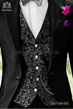 Chaleco moda negro seda jacquard