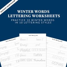 Winter Words Lettering Practice Sheets PDF, Instant Download, 10 Styles of Lettering, Lettering Worksheets, Brush Lettering Practice