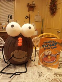 My son and I made this for pumpkin book character  contest.. Fly Guy!!