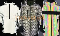 There are three types of reflective clothing - colorful reflective jacket, reflective printing jacket, and rainbow reflective jacket, which one do you like? Vest, Printing, Rainbow, Colorful, Blouse, Clothing, Fabric, Jackets, Women