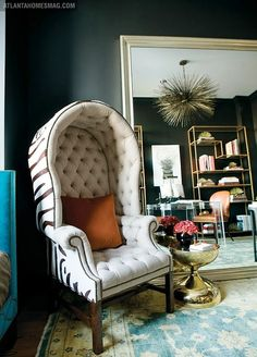love the black walls the zebra chair...everything