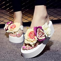Shoes For Women Fabric Platform Flip Flops Sandals Outdoor Dress Casual Black Pink