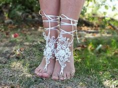 ivory barefoot sandals, ivory Beach wedding barefoot sandals, bangle, wedding anklet, free ship, anklet, bridal, wedding