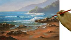 Acrylic Landscape or Seascape Painting Tutorial Morning at Beach with Crashing Waves by JM Lisondra - YouTube