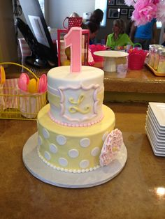 Pink Lemonade theme 1st birthday cake. Pink and Yellow, dots
