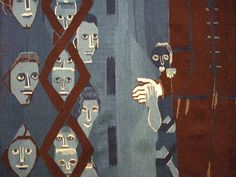 detail from a tapestry by Hannah Ryggen (1894-1970) a self-taught weaver, translating the claustrophobic feeling of war and destruction into woven cloths. She commented on Fascism and Nazism's emergence in Europe in the inter-war years, and Norwegian politics in the post-war years.