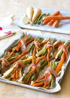 Bacon Wrapped Roasted Vegetables with Cider Maple Glaze are a perfect, healthy side dish for your next dinner. Our pure maple naturally sweetens these veggies and make for an irresistible flavor. Wrap them in bacon and even kids will want to eat them! Christmas Vegetable Dishes, Veggie Dishes, Vegetable Recipes, Food Dishes, Side Dishes, Main Dishes, Veggie Food, Dinner Dishes, Cooking Recipes