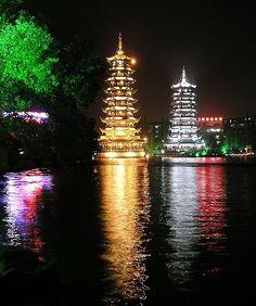 Sun and Moon Pagodas in China