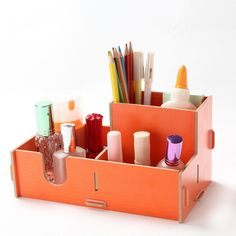 Creative Office Supplies Storage Box File Pen Pencil Holder Stand Mark Up Desk Organiser (Orange) Diy Wood Desk, Wooden Diy, Makeup Storage Organization, Handbag Organization, Office Supply Storage, Wooden Storage Boxes, Pencil Holder, Jewellery Storage, Office Supplies