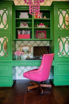 Looking for Living Space and Home Office ideas? Browse Living Space and Home Office images for decor, layout, furniture, and storage inspiration from HGTV. Style Deco, Green Rooms, Home Office Decor, Office Ideas, Decoration, House Colors, Painted Furniture, Large Home Furniture, Furniture Design