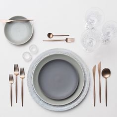"""Dusting off those Monday morning blues! Dusty Blue Lace Chargers + Heath Ceramics in Mist & Slate + Rose Gold Flatware + Czech Crystal Coupe Trios +…"""
