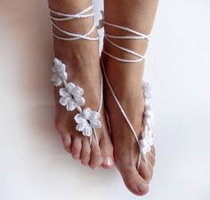 Hey, I found this really awesome Etsy listing at https://www.etsy.com/listing/192764736/barefoot-wedding-sandals-white-wedding