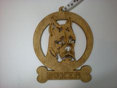 Boxer wood dog ornament with paw print hanging ribbon by GiftWorks! BUY NOW for $8.95 with FREE SHIPPING!