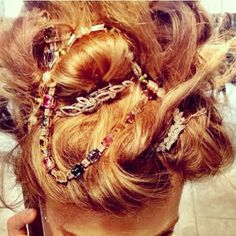 Love using beads and jewels to make an updo pop!