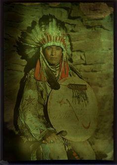 Title: Native American Man  Date: ca. 1910  Medium: color plate, screen (Autochrome) process