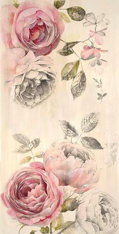 Ana Rosa   A Paper Bear Art Journal Tumblr --- Dogwood blossoms (pretty sure) and either old fashioned tea/cabbage roses or peonies. Roses I think.