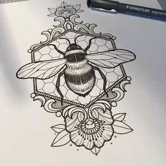 Bee and honeycomb tattoo Kunst Tattoos, Body Art Tattoos, New Tattoos, Sleeve Tattoos, Tatoos, Rosary Tattoos, Bracelet Tattoos, Hand Tattoos, Skull Tattoos