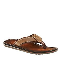 "Clarks ""Logan Yucatan"" Thong Sandals in Brown."