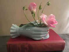 Vintage Ceramic Hand Planter in Light Aqua Unique by myfancies, $8.00