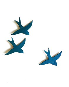 Porcelain wall art swallows We three together ceramic wall sculpture Art for the home