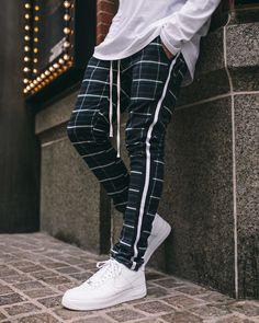 Homme Slim pantalon écossais Pantalon Casual Pantalon Tapered Skinny Fashion Korean