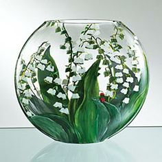Hand-Painted Lily Of The Valley Vase by Uno Alla Volta