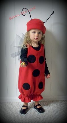 The perfect costume for the little bug in your life. Lady bugs are loved everywhere and you will love this one too. This costume is for the little one in your life. It can be ordered in sizes 1/2 to 4 only. It is made of fleece with netting wings. The hat will help keep them warm while