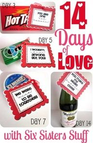 14 Days of Love  I love paying special attention to hubby on Valentines day.  I love him everyday and show him in little ways, but I love focusing extra on him too.  This is what Im doing this year.  Dont tell him!  Thanks to Six Sisters Stuff for the idea.