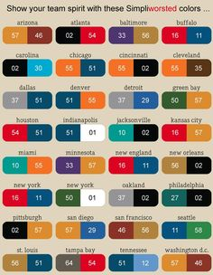NFL Football Team Color Chart -- Find your city name, get your sale yarn 'n knit some team spirit! Football Crafts, Nfl Football Teams, Football Season, Football Food, Nfl Team Colors, Loom Hats, Crochet Football, Yarn Color Combinations, Loom Knitting