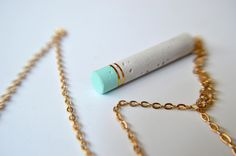 Mint and gold concrete necklace by PusPus on Etsy