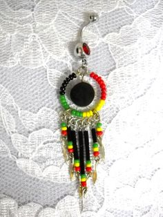 Long Rasta Colors Seed Beaded Tassels With Round Onyx Gemstone on Red CZ Gem 14g Belly Ring Navel Bar Body Piercing Jewelry