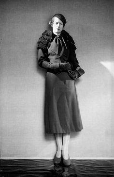Elsa Schiapparelli  1930-1940 fashion suit style designer couture photo print ad model 30s 40s