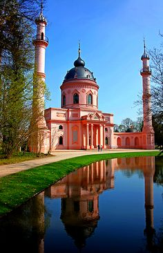 Schloss Schwetzingen, Germany was built as a hunting lodge. The gardens surrounding it became more and more extensive and grand that they finally built a castle to befit the gardens.