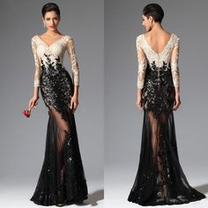 Show your best to all people even in the evening and then get black white mermaid lace evening dresses 2016 elie saab v neck sheer illusion long sleeves sequined prom dresses evening wear gowns in officesupply and choose wholesale red evening dresses,black evening dresses and black formal dresses on DHgate.com.