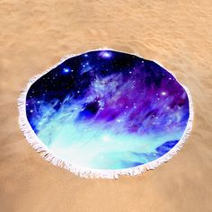 "Cold Nebula Round Beach Towel by Johari Smith.  The beach towel is 60"" in diameter and made from 100% polyester fabric."