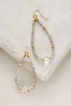 Crystal Teardrop Hoops - anthropologie.com 14k gold fill, cubic zirconium, quartz