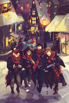 By Viria; The Maruders- Prongs (James Potter), Padfoot (Sirius Black), Moony (Remus Lupin), and Wormtail (Peter Pettigrew) Harry Potter Anime, Harry Potter Fan Art, Harry Potter World, Immer Harry Potter, Fans D'harry Potter, Mundo Harry Potter, Harry Potter Drawings, Harry Potter Hermione, Harry Potter Universal