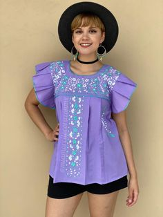 LARGE embroidered mexican blouse women, boho hippie cottage core lilac top, floral embroidery, ruffled sleeve mexico blouse, gift for her Mexican Top, Mexican Blouse, Mexican Outfit, San Antonio, Floral Tunic, Ruffle Sleeve, Embroidered Flowers, Floral Embroidery, Festival Fashion