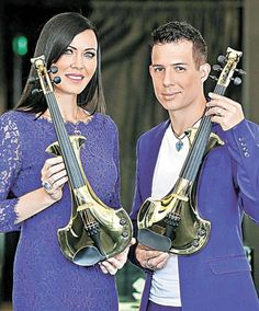 Two 24-carat violins adorned with precious gems, designed by British jewellery designer Theo Fennell Pictured in Metro HK