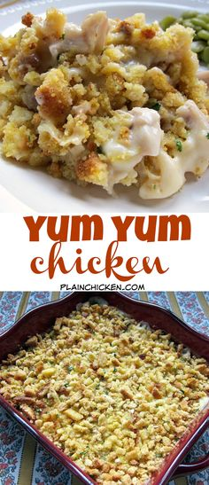 Yum Yum Chicken - creamy chicken casserole topped with cornbread stuffing. Great quick weeknight casserole recipe! Kid Friendly!