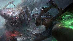 Sion vs Riven League of Legends Fight Wallpaper