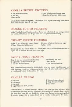 nice Vintage Recipes: 1964 Cakes, Cookies and Frostings Cake Frosting Recipe, Butter Frosting, Cookie Frosting, Cake Icing, Eat Cake, Fudge Frosting, Vanilla Frosting, Crisco Frosting, Whipped Frosting