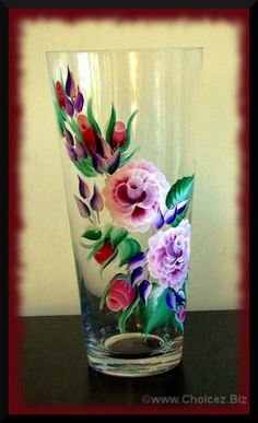 "SOLD! (Sorry) Pink roses on 12"" Tall Glass Vase - Painted in enamel paint for durability (top rack dishwasher safe) $45 Painted Glass Vases, Tall Glass Vases, Old Vases, Painted Wine Glasses, Acrylic Painting Flowers, Stained Glass Paint, Enamel Paint, Bottle Painting, Bottle Crafts"