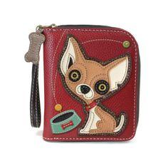 Chala Weinder Dog on Scooter Zip-Around Wallet//Wristlet Dachshund Mom
